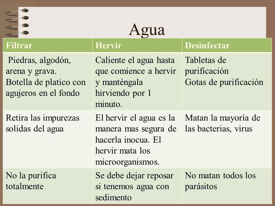 Agua Filtrar Hervir Desinfectar Piedras, algodón, arena y grava.