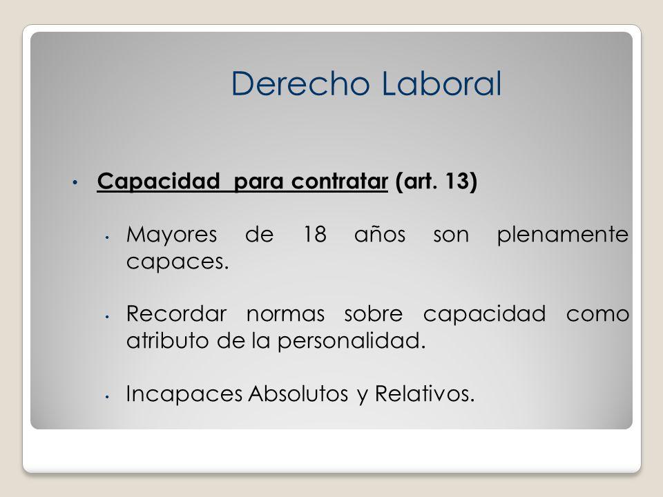 Derecho Laboral Capacidad para contratar (art. 13)