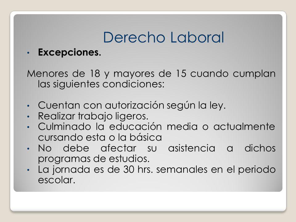 Derecho Laboral Excepciones.