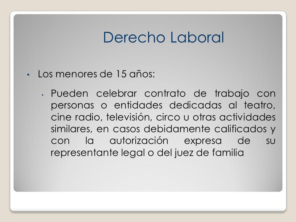 Derecho Laboral Los menores de 15 años:
