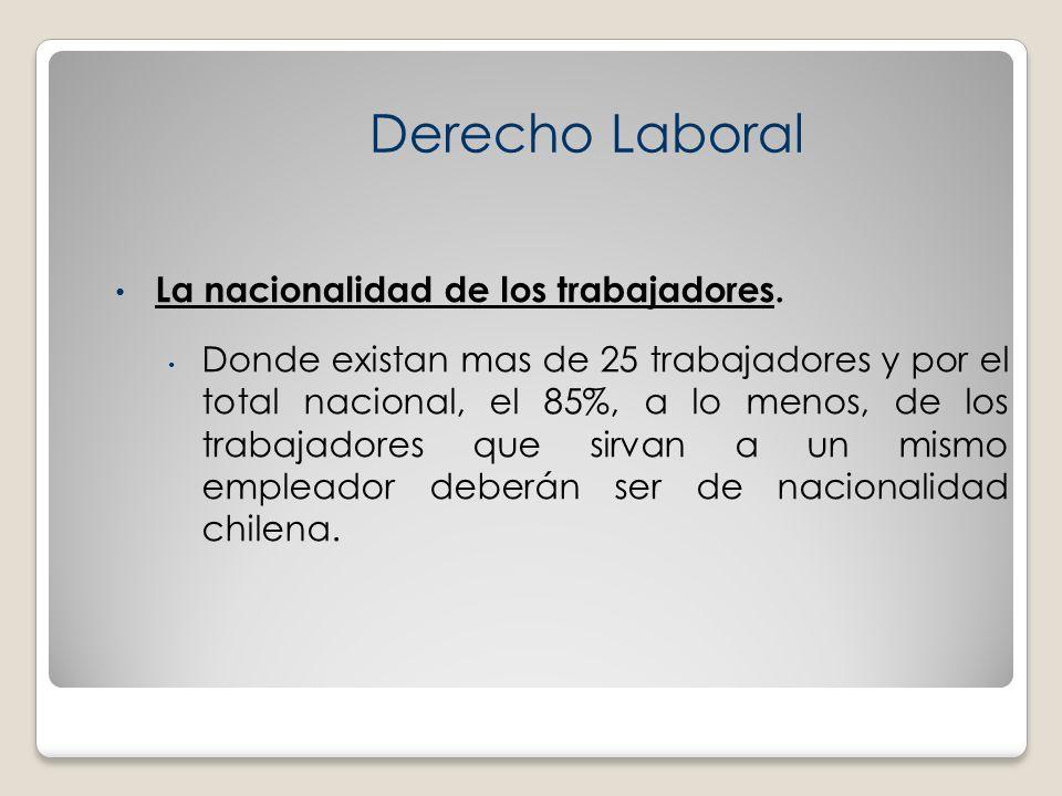 Derecho Laboral La nacionalidad de los trabajadores.