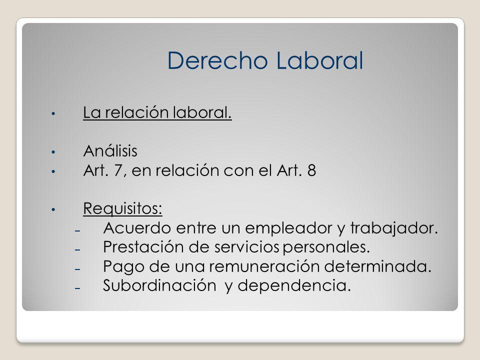 Derecho Laboral La relación laboral. Análisis