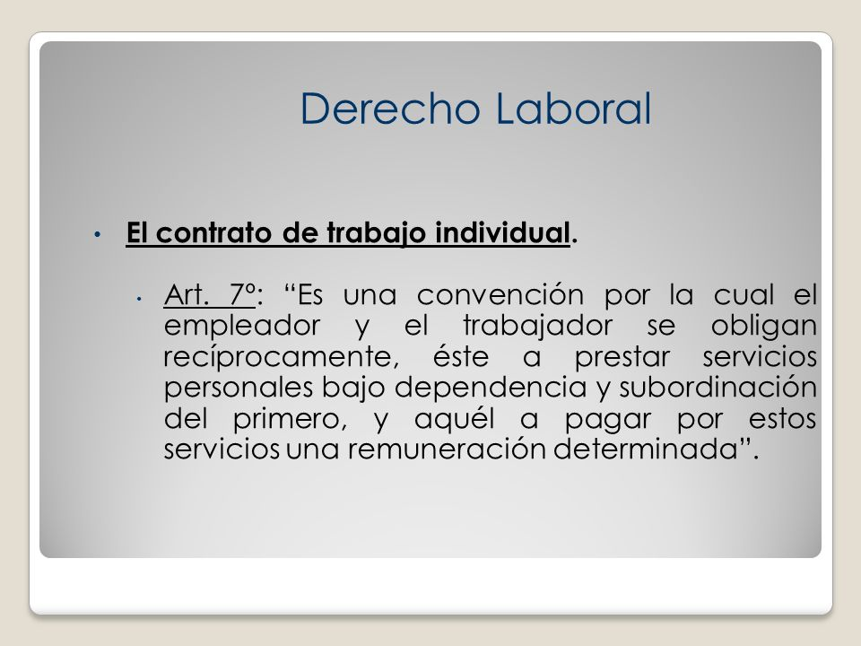 Derecho Laboral El contrato de trabajo individual.