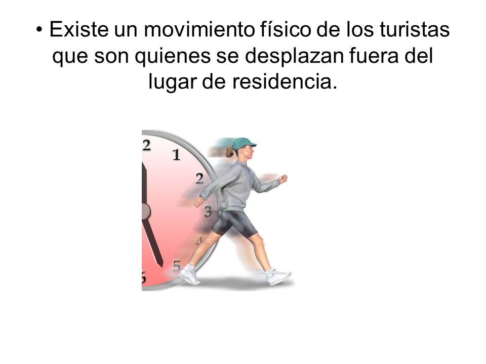 • Existe un movimiento físico de los turistas que son quienes se desplazan fuera del lugar de residencia.