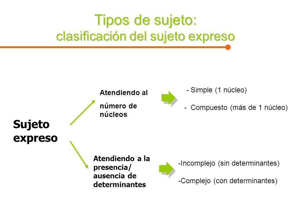 Tipos de sujeto: clasificación del sujeto expreso