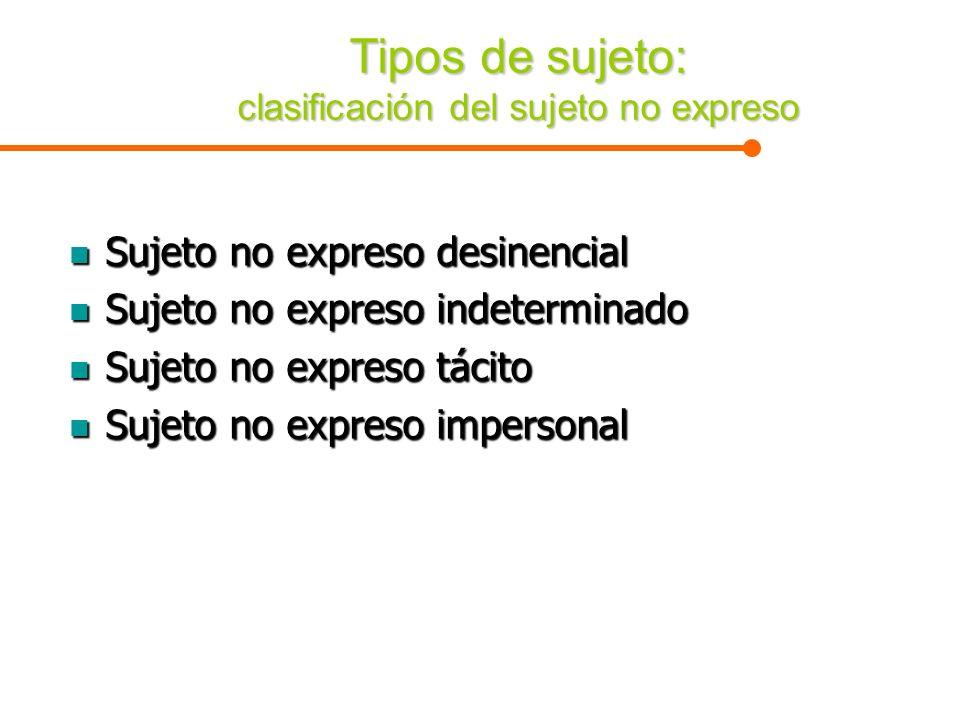 Tipos de sujeto: clasificación del sujeto no expreso