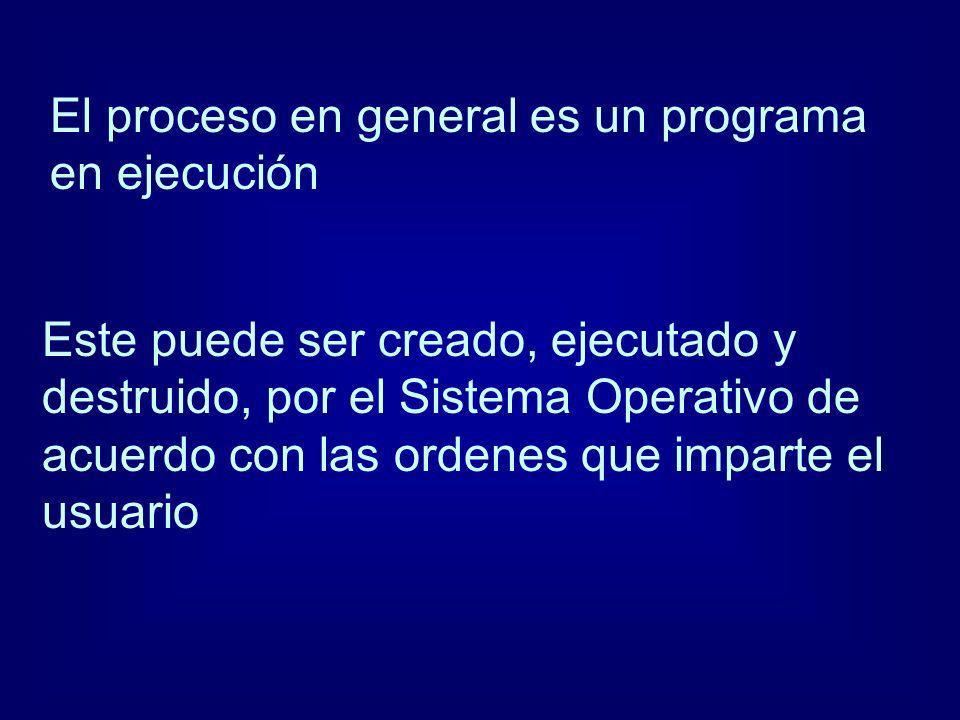 El proceso en general es un programa en ejecución