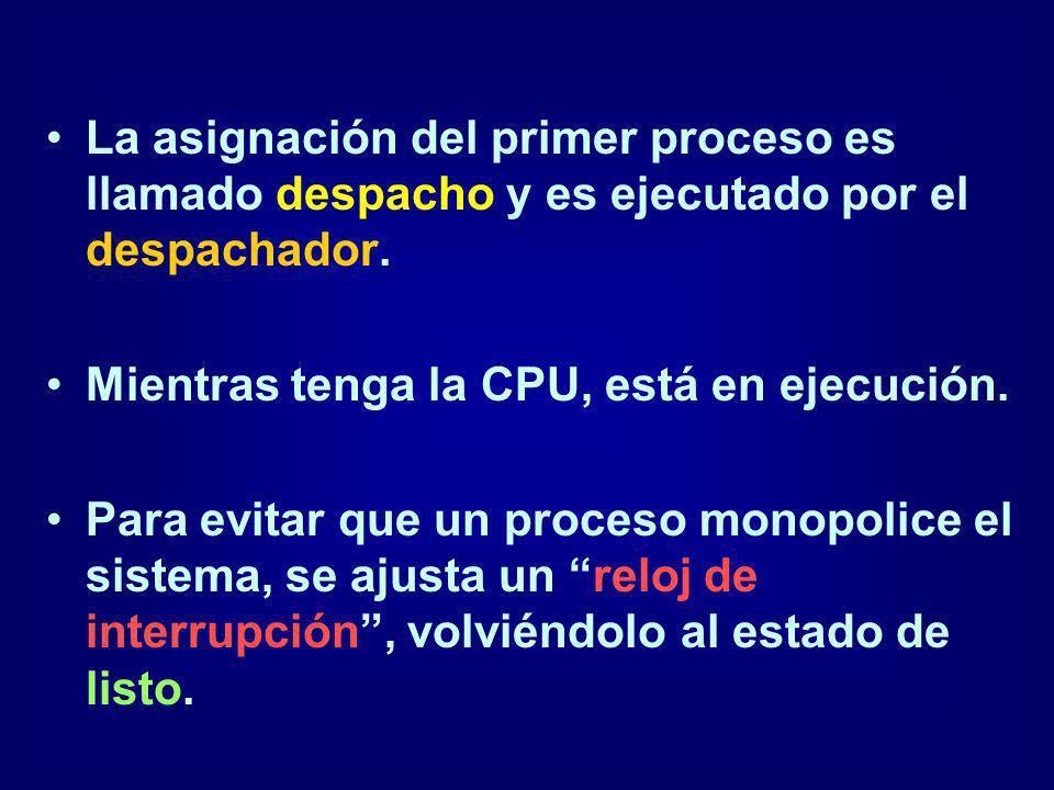 La asignación del primer proceso es llamado despacho y es ejecutado por el despachador.