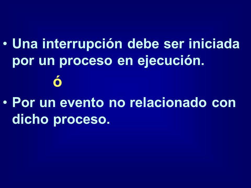 ó Una interrupción debe ser iniciada por un proceso en ejecución.