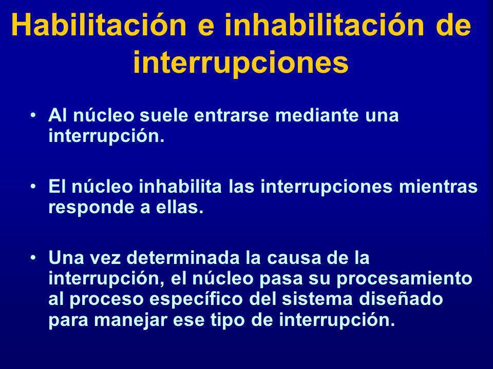 Habilitación e inhabilitación de interrupciones