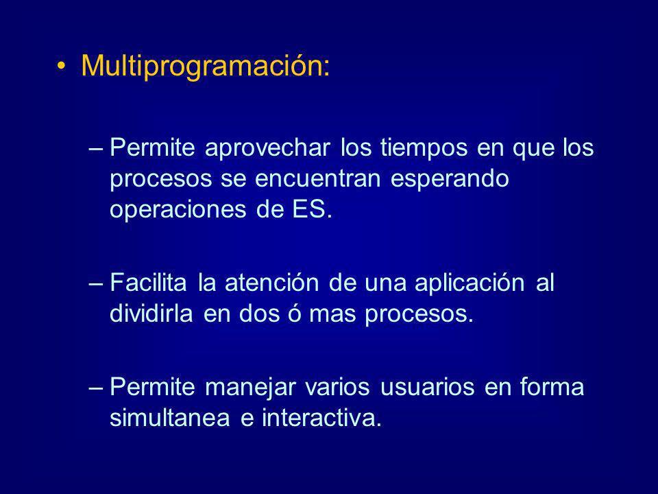 Multiprogramación: Permite aprovechar los tiempos en que los procesos se encuentran esperando operaciones de ES.