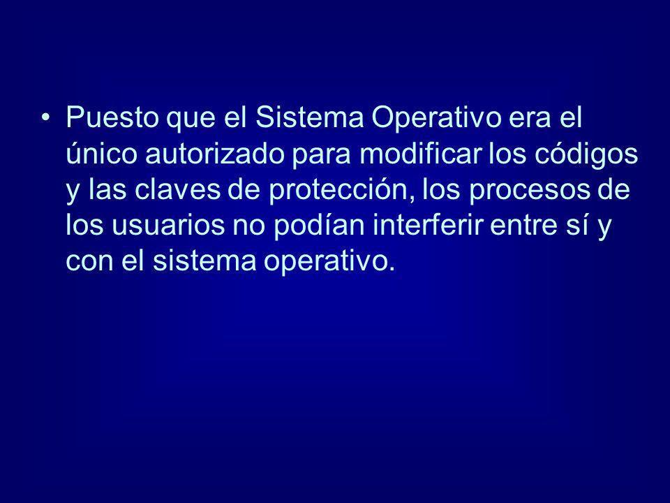 Puesto que el Sistema Operativo era el único autorizado para modificar los códigos y las claves de protección, los procesos de los usuarios no podían interferir entre sí y con el sistema operativo.