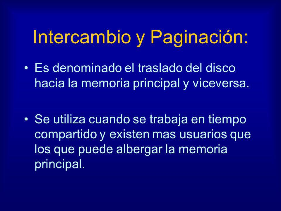 Intercambio y Paginación: