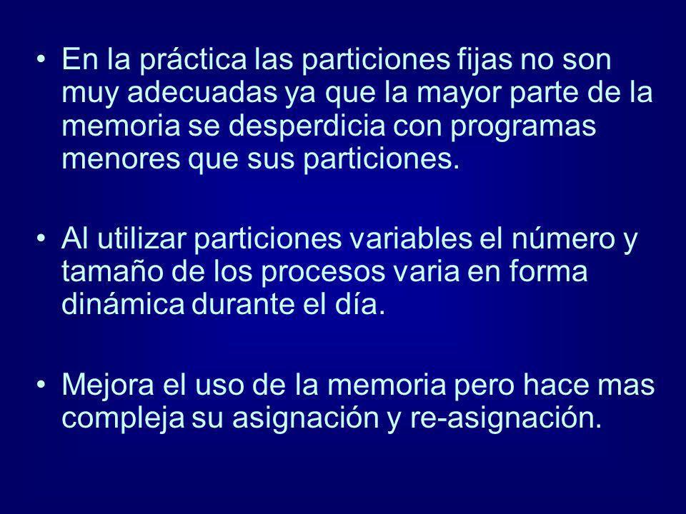 En la práctica las particiones fijas no son muy adecuadas ya que la mayor parte de la memoria se desperdicia con programas menores que sus particiones.
