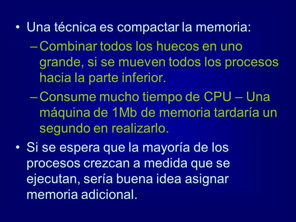 Una técnica es compactar la memoria: