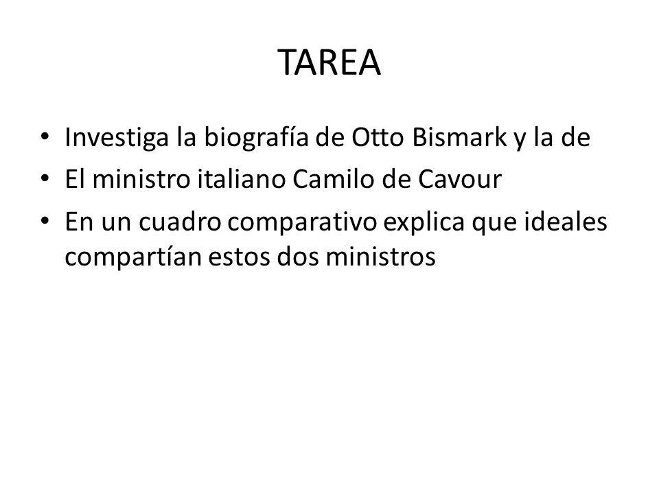 TAREA Investiga la biografía de Otto Bismark y la de