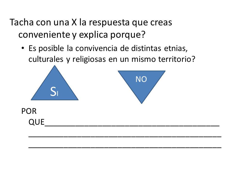 Tacha con una X la respuesta que creas conveniente y explica porque