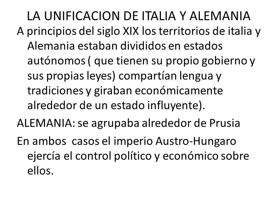 LA UNIFICACION DE ITALIA Y ALEMANIA