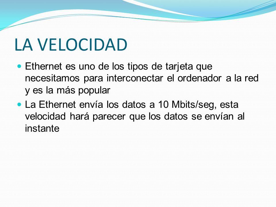 LA VELOCIDADEthernet es uno de los tipos de tarjeta que necesitamos para interconectar el ordenador a la red y es la más popular.