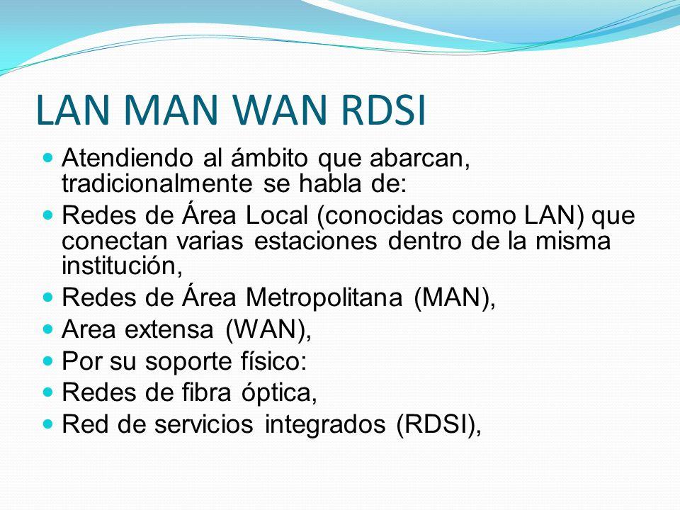 LAN MAN WAN RDSI Atendiendo al ámbito que abarcan, tradicionalmente se habla de: