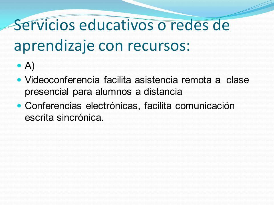 Servicios educativos o redes de aprendizaje con recursos: