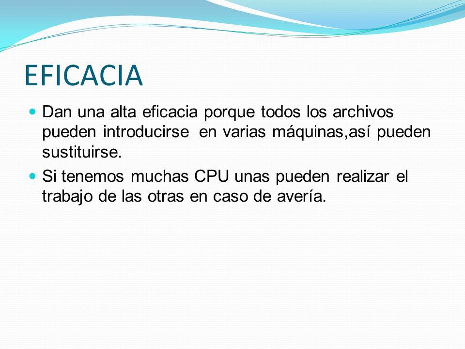 EFICACIA Dan una alta eficacia porque todos los archivos pueden introducirse en varias máquinas,así pueden sustituirse.