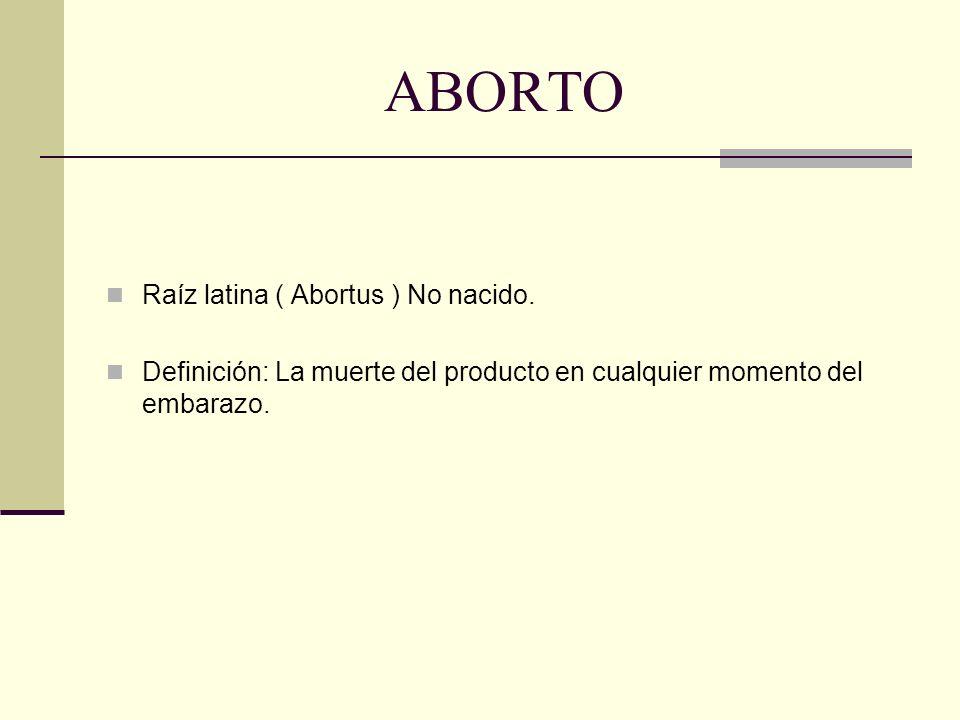 ABORTO Raíz latina ( Abortus ) No nacido.