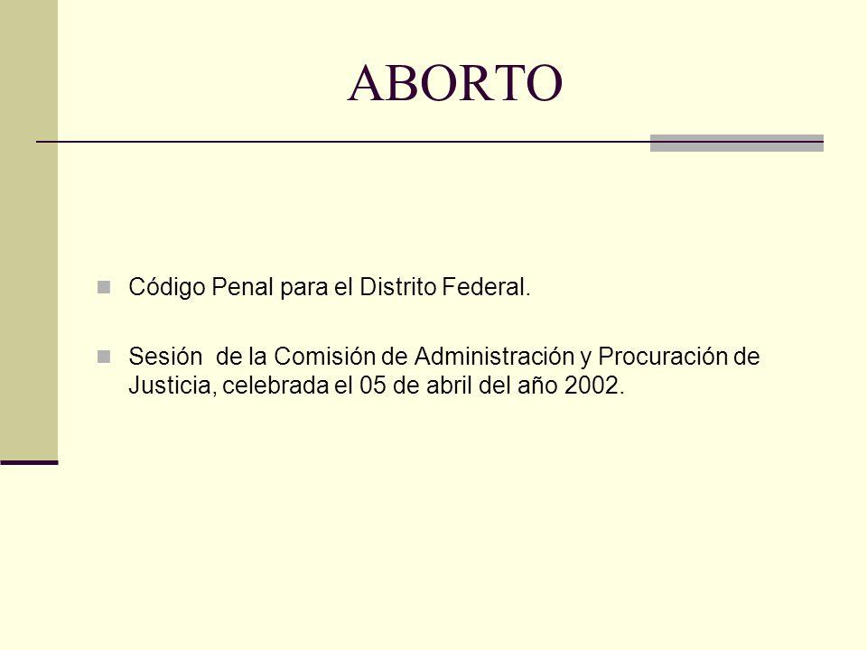 ABORTO Código Penal para el Distrito Federal.