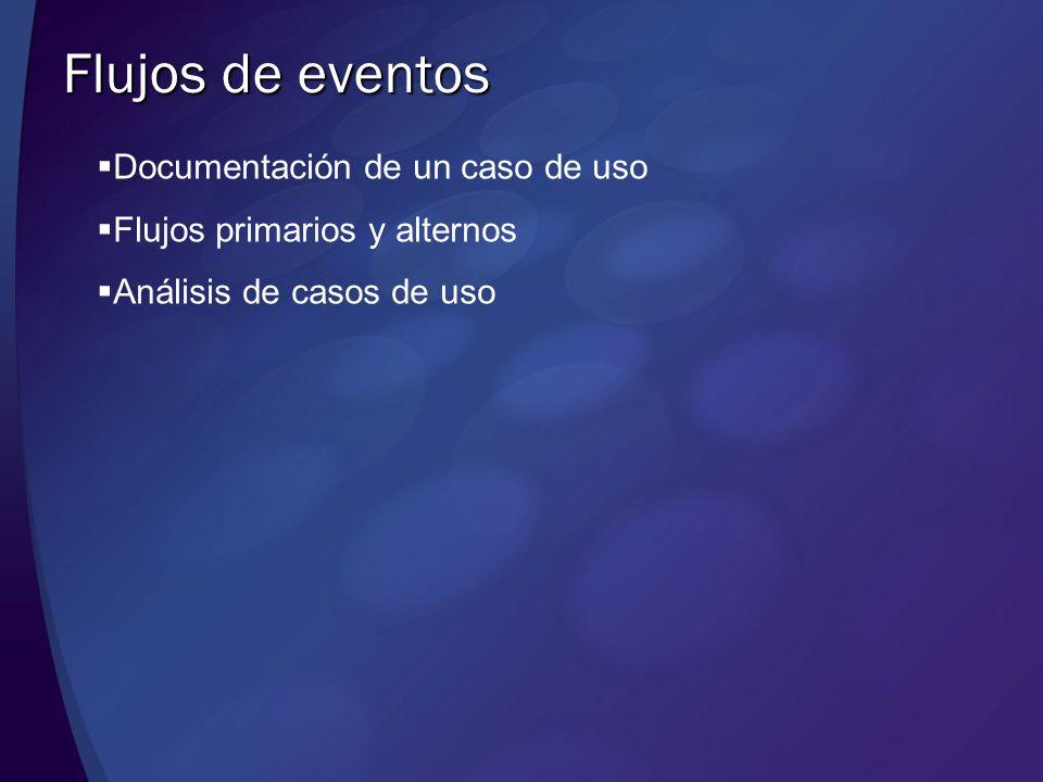 Flujos de eventos Documentación de un caso de uso