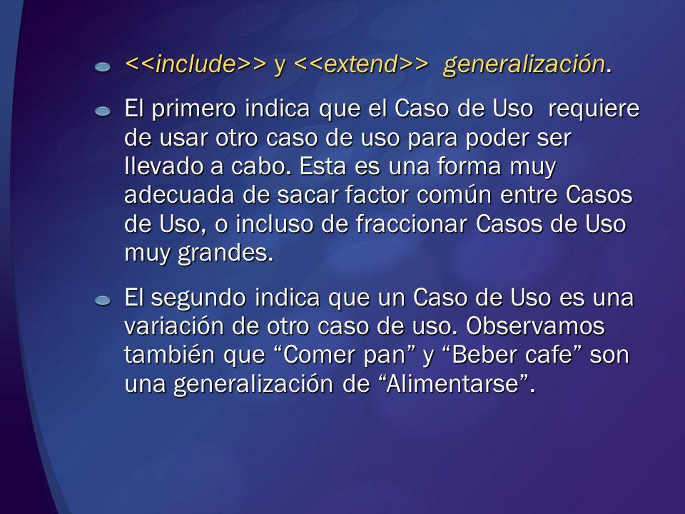 <<include>> y <<extend>> generalización.