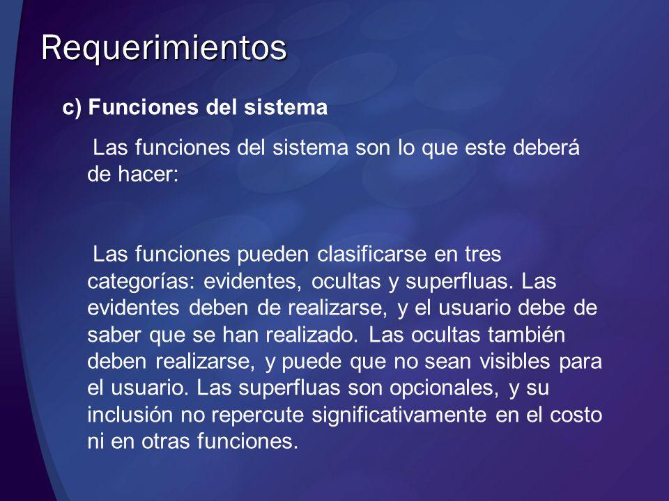 Requerimientos c) Funciones del sistema