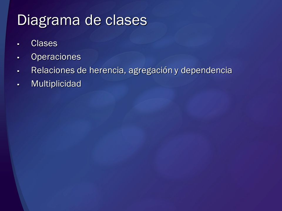 Diagrama de clases Clases Operaciones