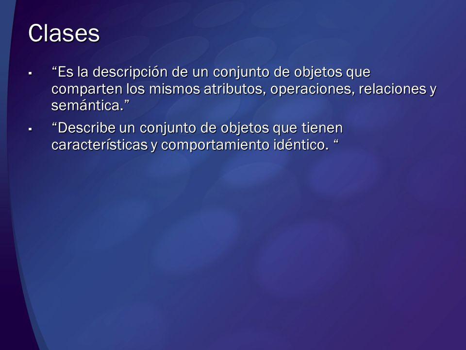 Clases Es la descripción de un conjunto de objetos que comparten los mismos atributos, operaciones, relaciones y semántica.