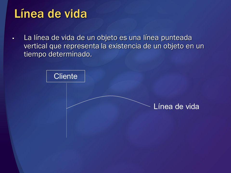 Línea de vida La línea de vida de un objeto es una línea punteada vertical que representa la existencia de un objeto en un tiempo determinado.