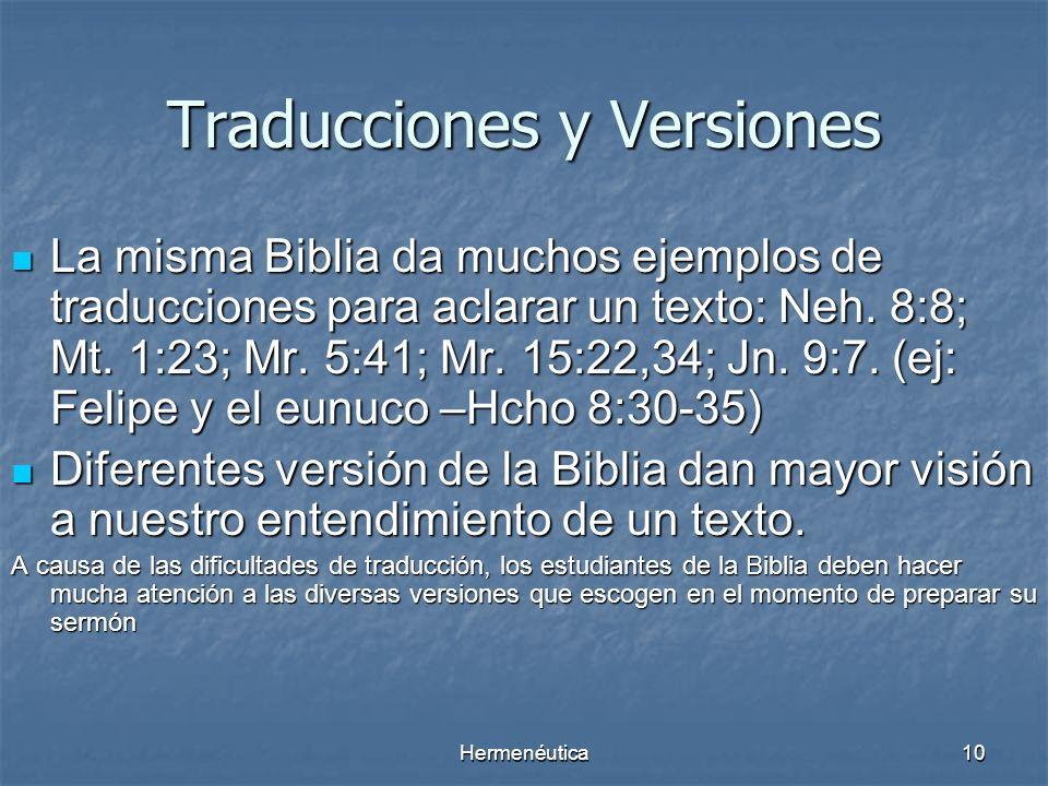 Traducciones y Versiones