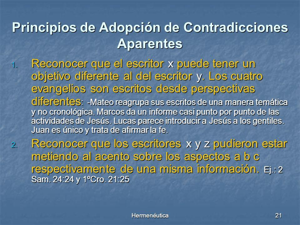 Principios de Adopción de Contradicciones Aparentes