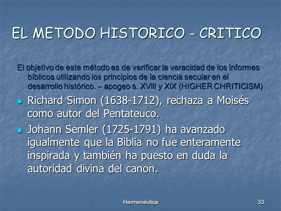 EL METODO HISTORICO - CRITICO