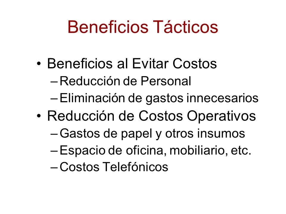 Beneficios Tácticos Beneficios al Evitar Costos