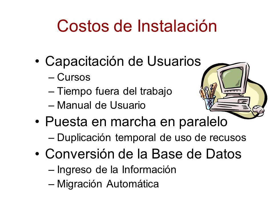 Costos de Instalación Capacitación de Usuarios