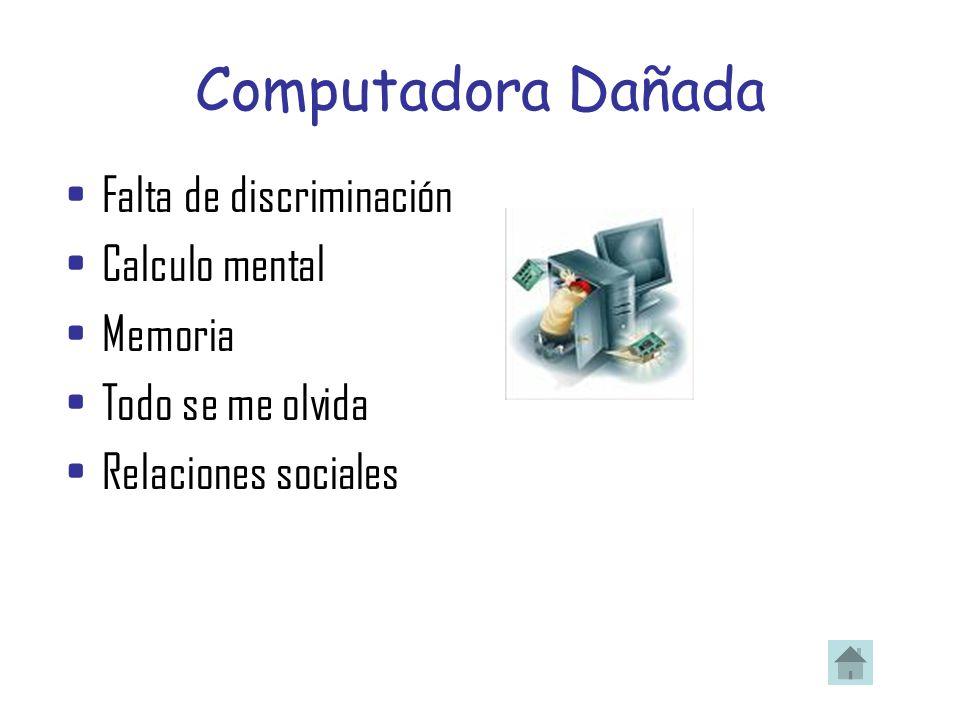 Computadora Dañada Falta de discriminación Calculo mental Memoria