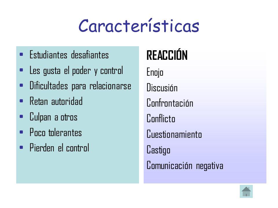 Características REACCIÓN Estudiantes desafiantes