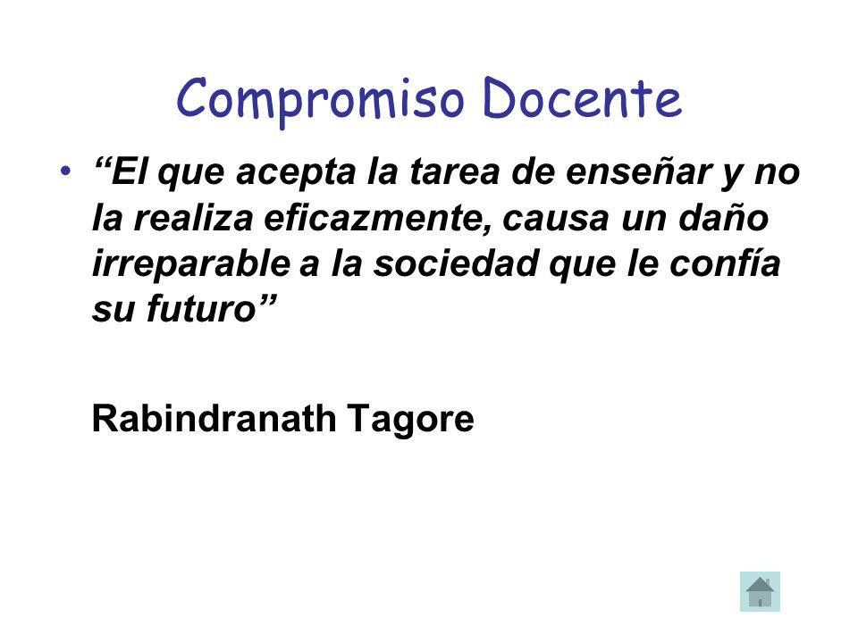 Compromiso Docente El que acepta la tarea de enseñar y no la realiza eficazmente, causa un daño irreparable a la sociedad que le confía su futuro