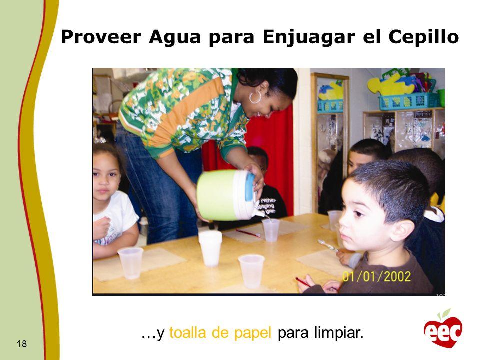Proveer Agua para Enjuagar el Cepillo