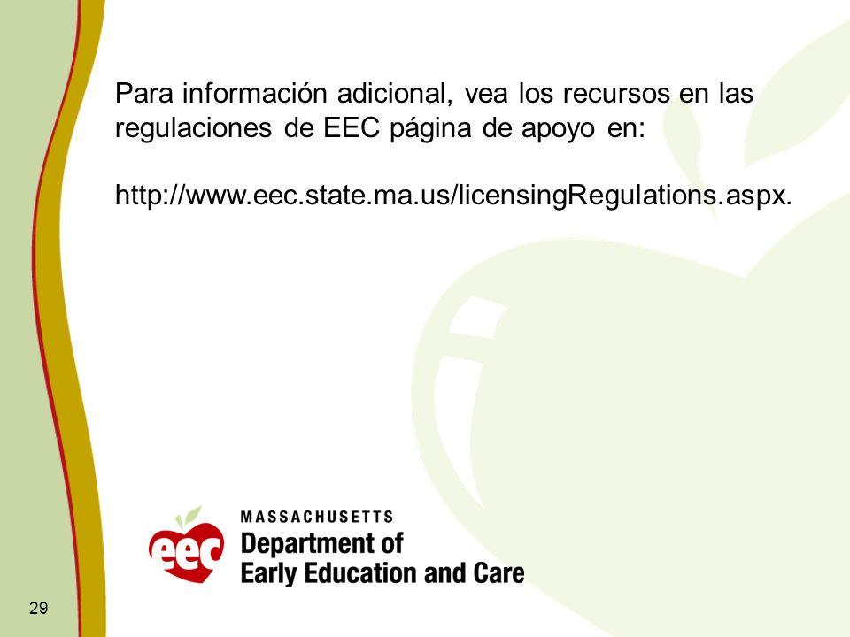 Para información adicional, vea los recursos en las regulaciones de EEC página de apoyo en: