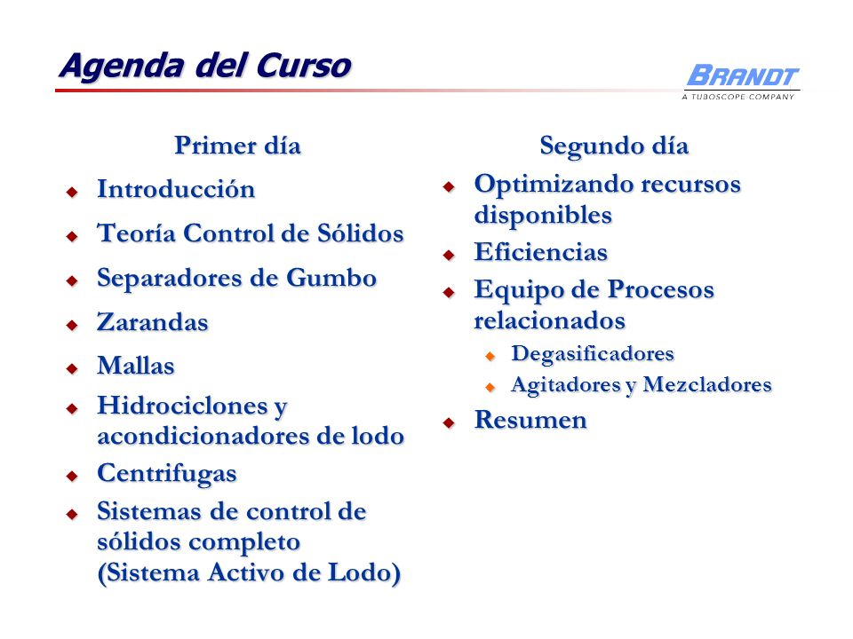 Agenda del Curso Primer día Introducción Teoría Control de Sólidos