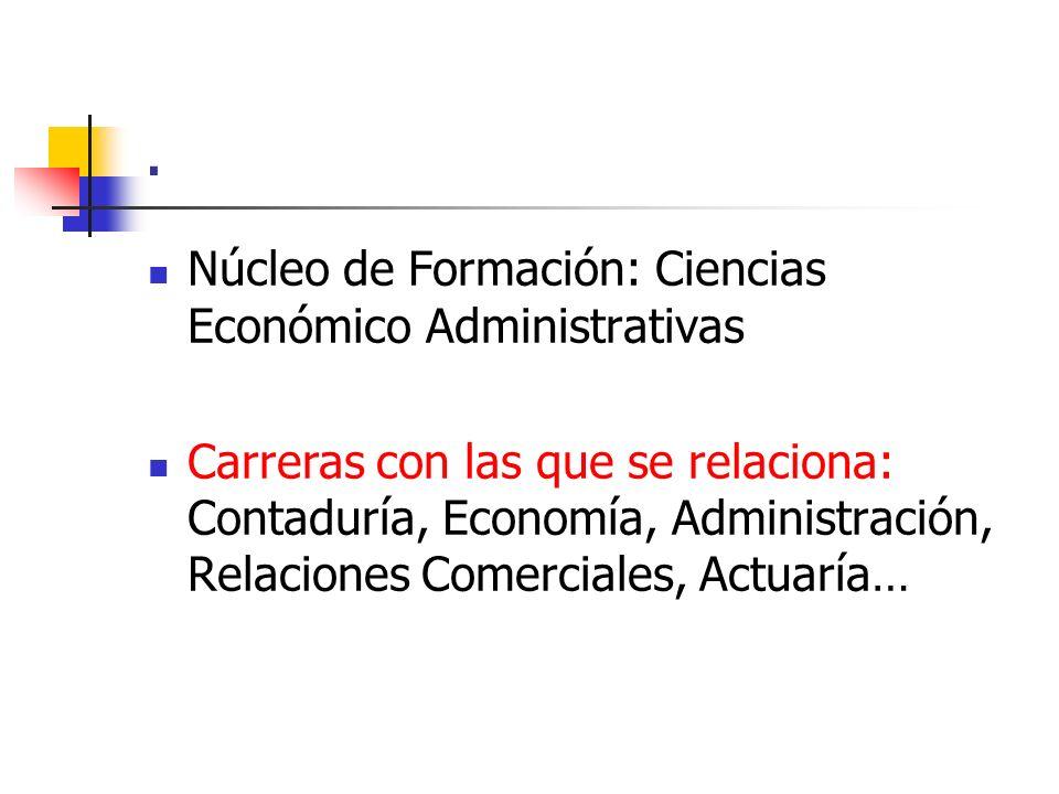. Núcleo de Formación: Ciencias Económico Administrativas