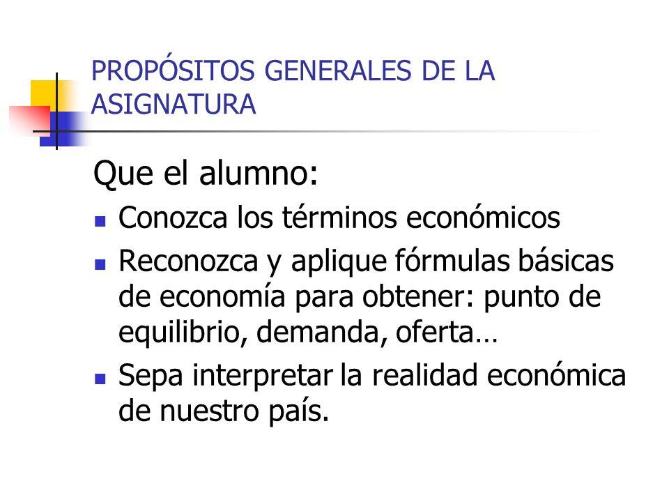 PROPÓSITOS GENERALES DE LA ASIGNATURA
