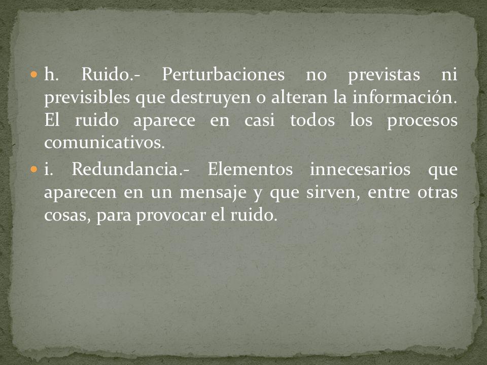 h. Ruido.- Perturbaciones no previstas ni previsibles que destruyen o alteran la información. El ruido aparece en casi todos los procesos comunicativos.