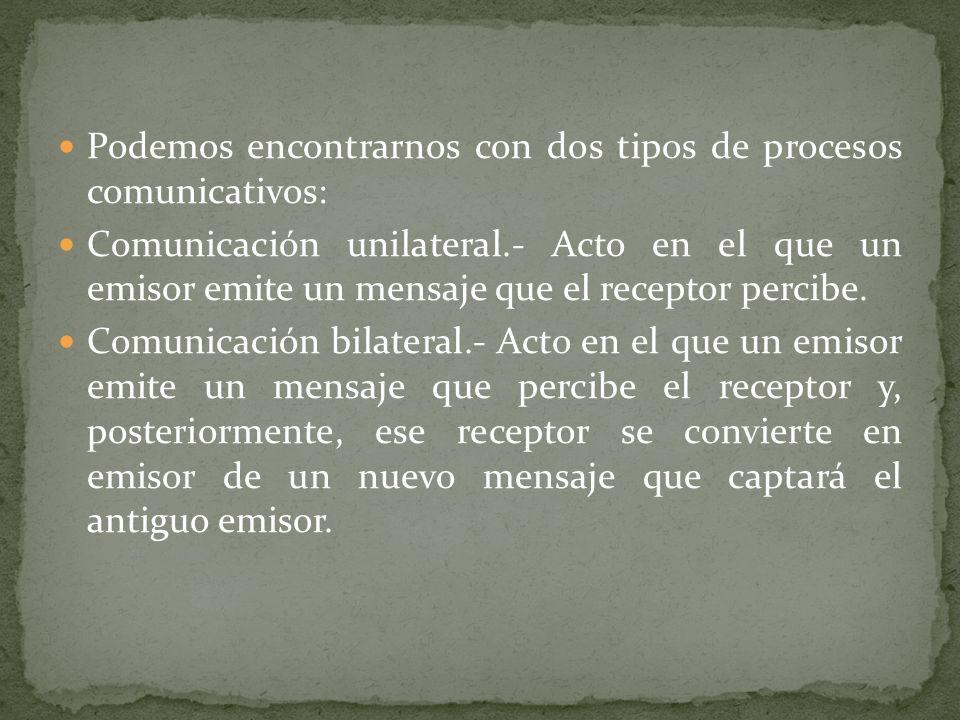 Podemos encontrarnos con dos tipos de procesos comunicativos: