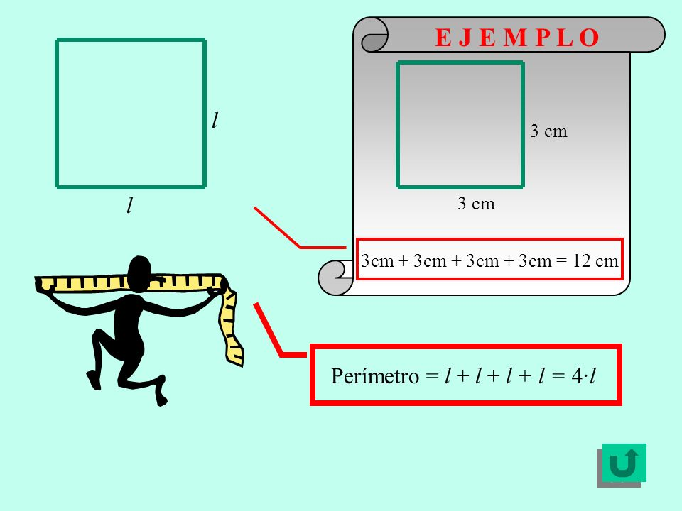 E J E M P L O l l Perímetro = l + l + l + l = 4·l 3 cm